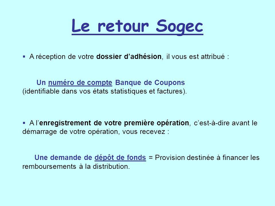 Le retour Sogec A réception de votre dossier d'adhésion, il vous est attribué :