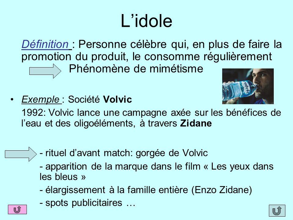 L'idoleDéfinition : Personne célèbre qui, en plus de faire la promotion du produit, le consomme régulièrement Phénomène de mimétisme.