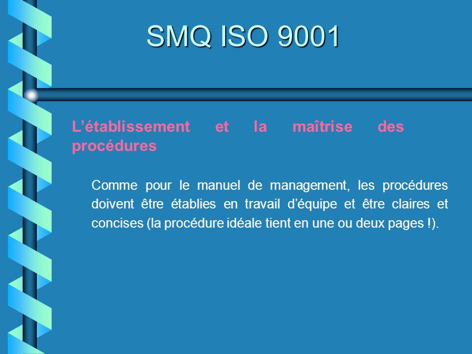 SMQ ISO 9001 L'établissement et la maîtrise des procédures