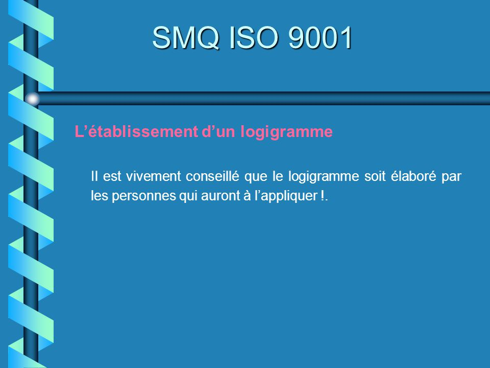 SMQ ISO 9001 L'établissement d'un logigramme