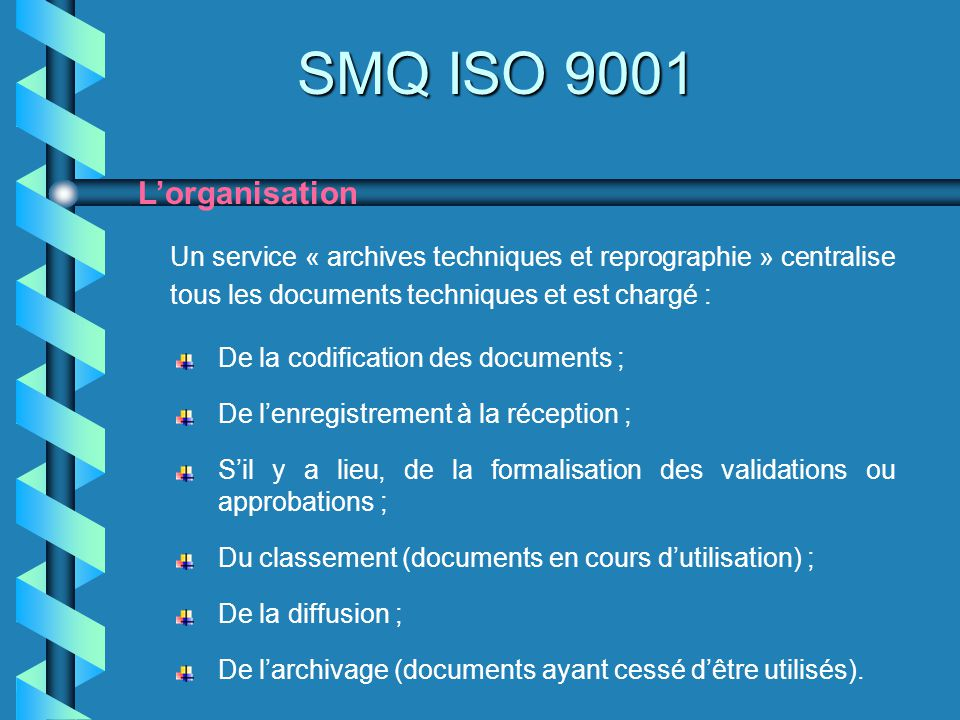 SMQ ISO 9001 L'organisation