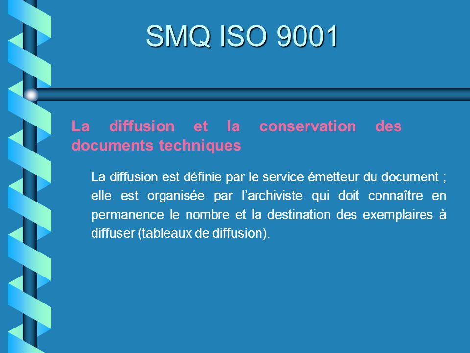 SMQ ISO 9001 La diffusion et la conservation des documents techniques