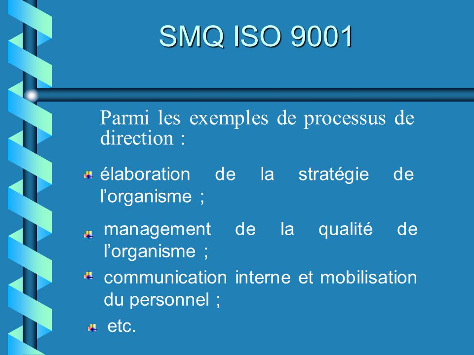 SMQ ISO 9001 Parmi les exemples de processus de direction :