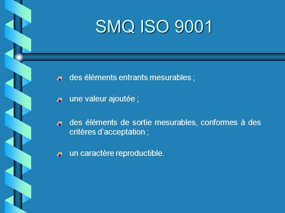 SMQ ISO 9001 des éléments entrants mesurables ; une valeur ajoutée ;