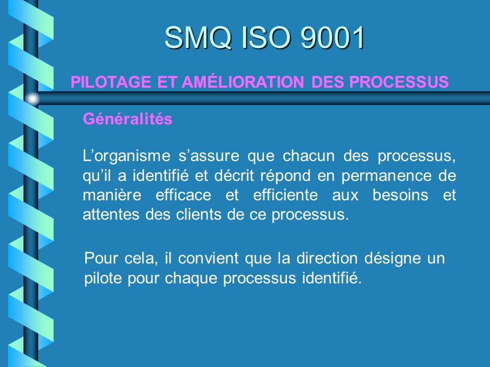 SMQ ISO 9001 PILOTAGE ET AMÉLIORATION DES PROCESSUS Généralités