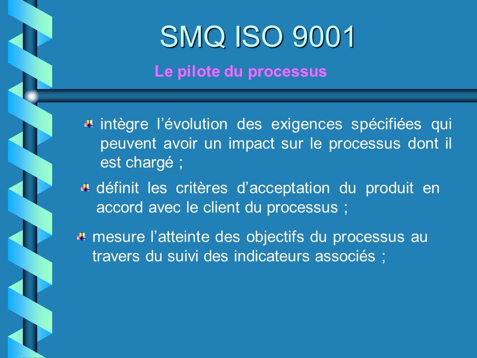 SMQ ISO 9001 Le pilote du processus