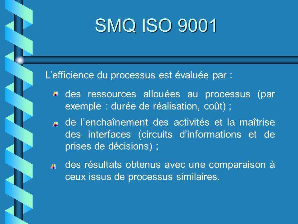 SMQ ISO 9001 L'efficience du processus est évaluée par :