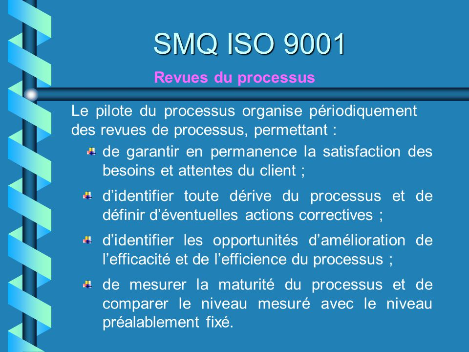SMQ ISO 9001 Revues du processus
