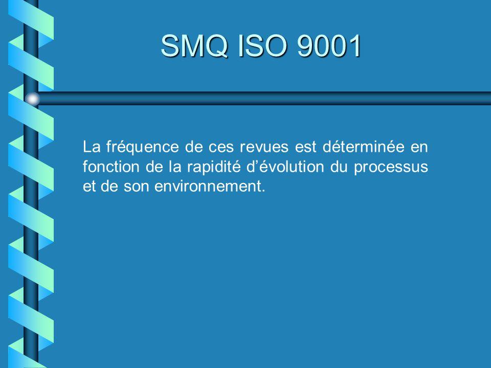 SMQ ISO 9001 La fréquence de ces revues est déterminée en fonction de la rapidité d'évolution du processus et de son environnement.