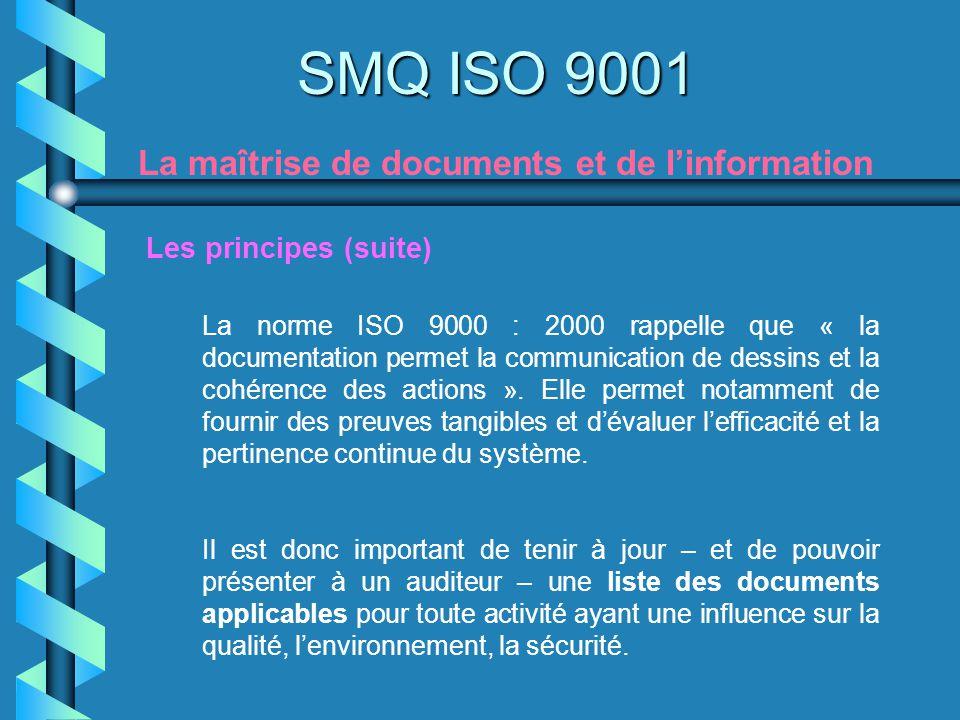 SMQ ISO 9001 La maîtrise de documents et de l'information