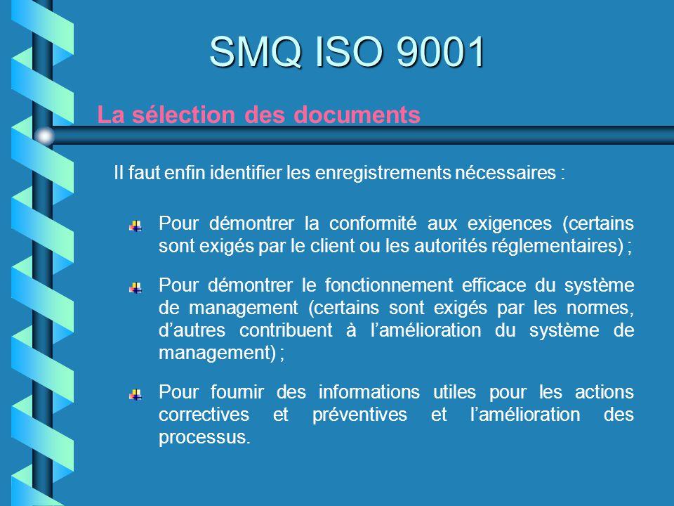 SMQ ISO 9001 La sélection des documents