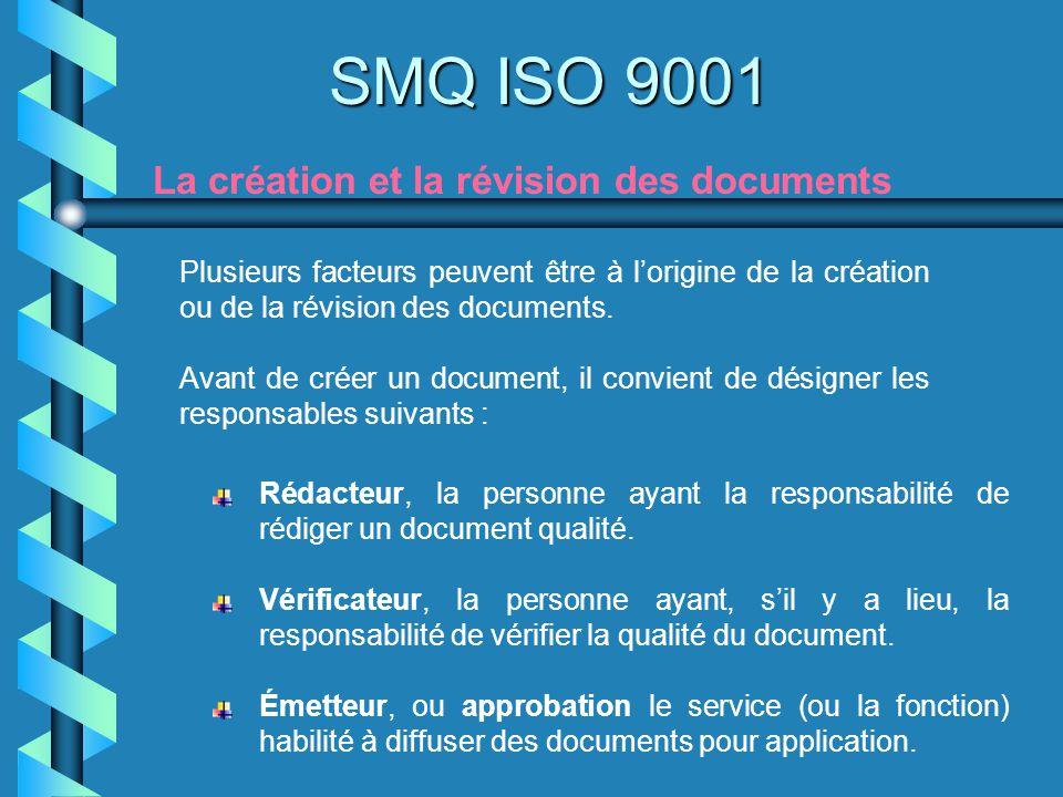 SMQ ISO 9001 La création et la révision des documents