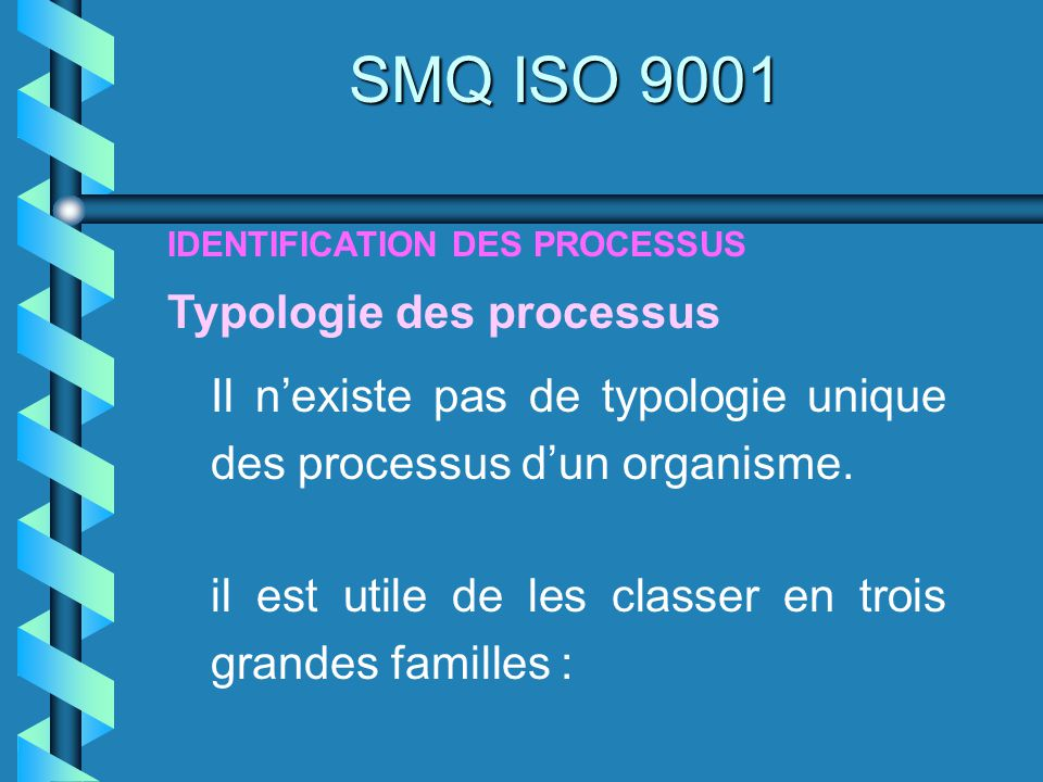 SMQ ISO 9001 Typologie des processus