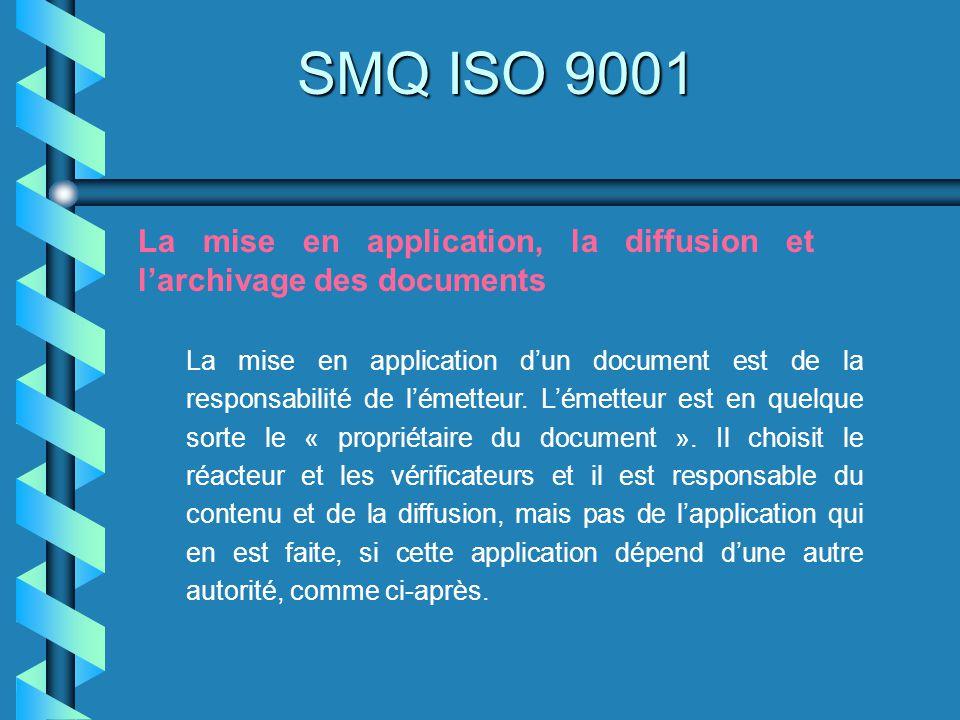 SMQ ISO 9001 La mise en application, la diffusion et l'archivage des documents.