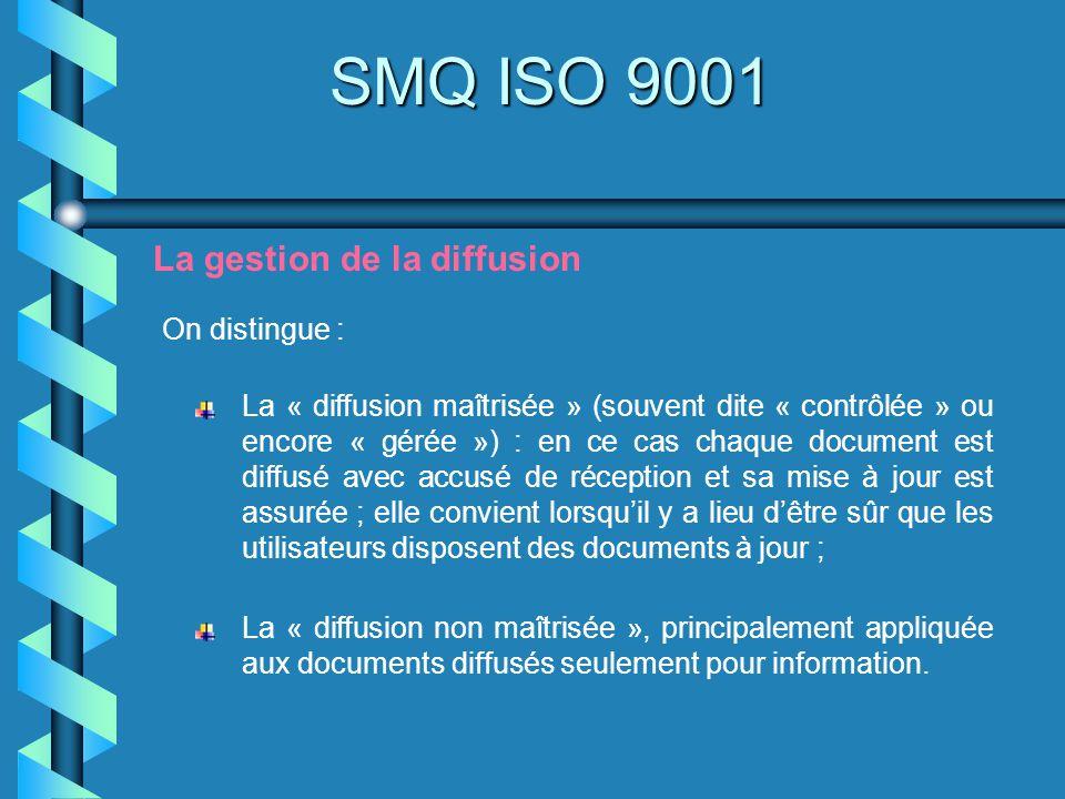 SMQ ISO 9001 La gestion de la diffusion On distingue :
