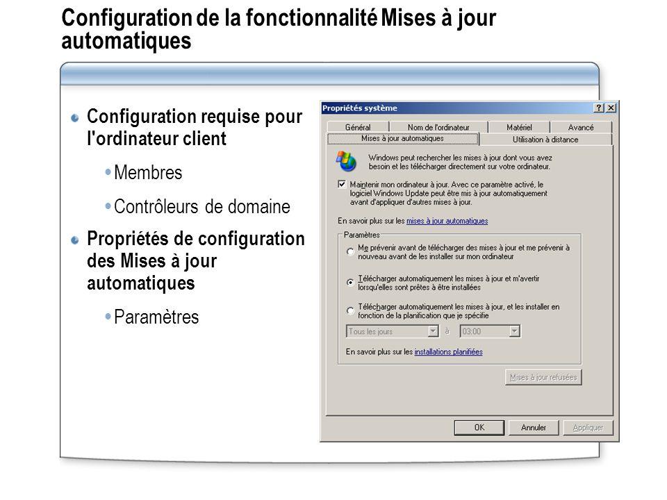 Configuration de la fonctionnalité Mises à jour automatiques