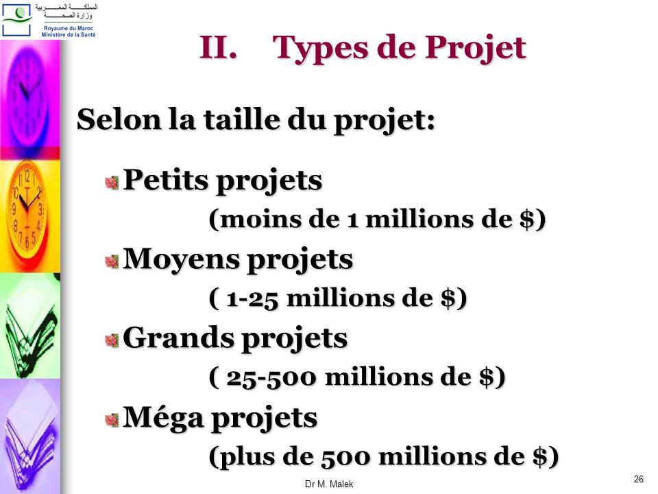 Types de Projet Selon la taille du projet: Petits projets
