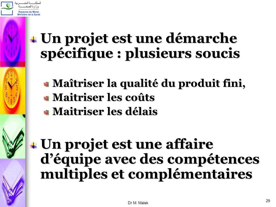 Un projet est une démarche spécifique : plusieurs soucis