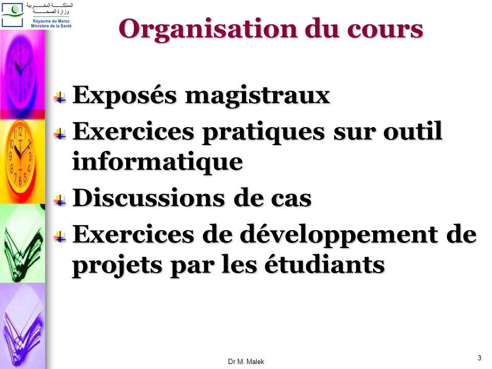 Organisation du cours Exposés magistraux
