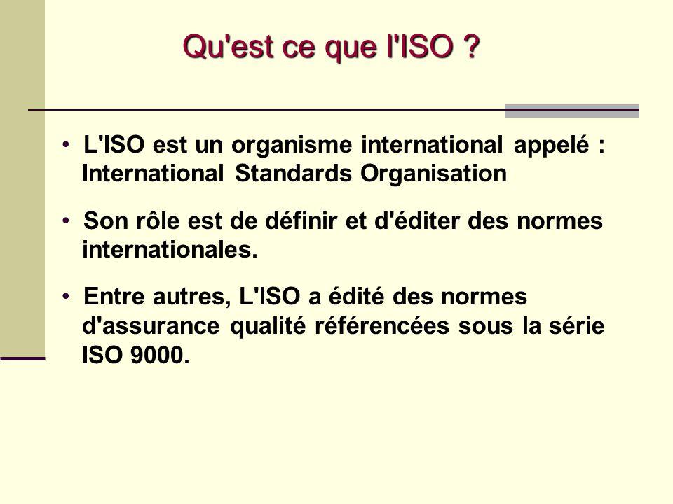 Qu est ce que l ISO L ISO est un organisme international appelé : International Standards Organisation.
