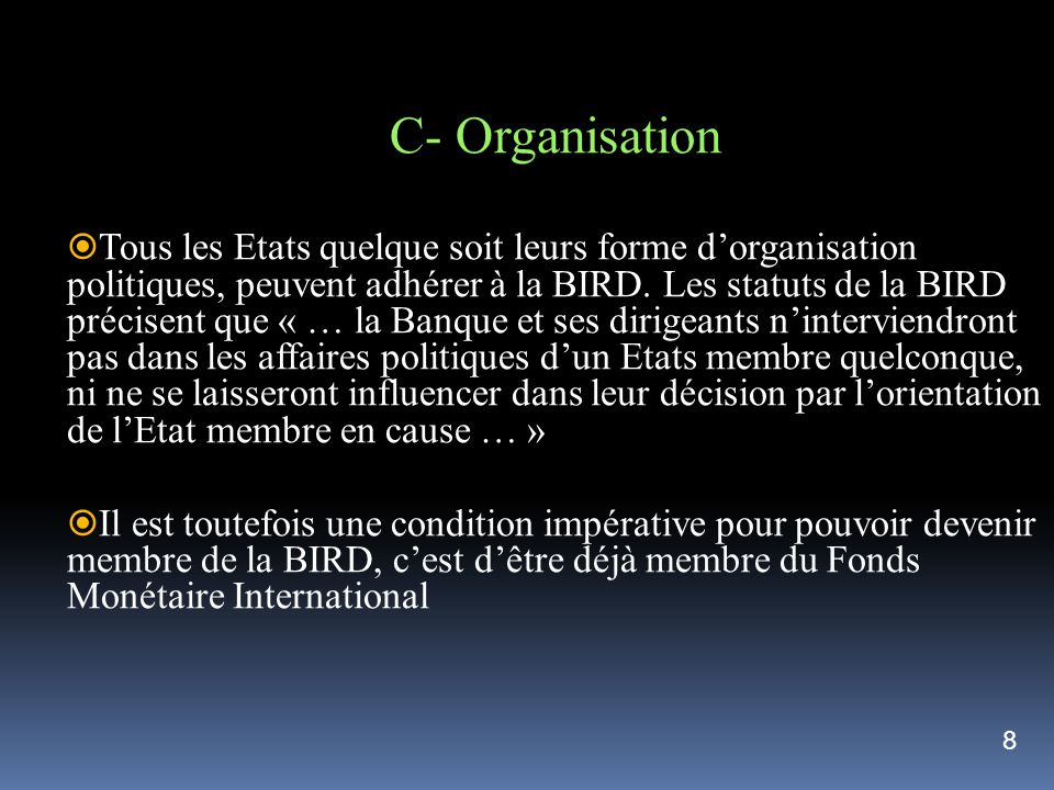 C- Organisation