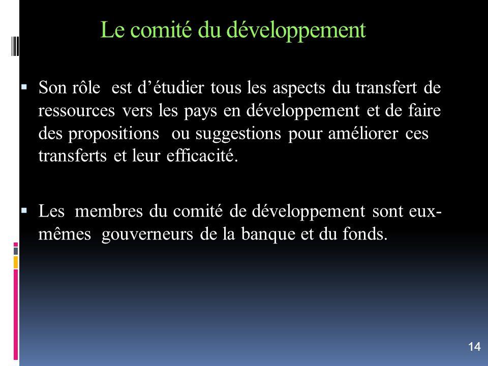 Le comité du développement