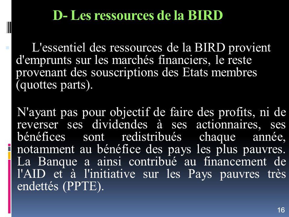 D- Les ressources de la BIRD