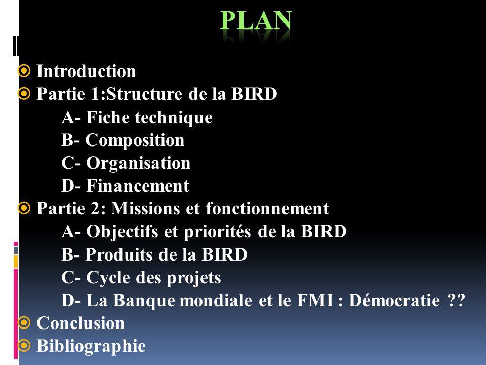 PLAN Introduction Partie 1:Structure de la BIRD A- Fiche technique