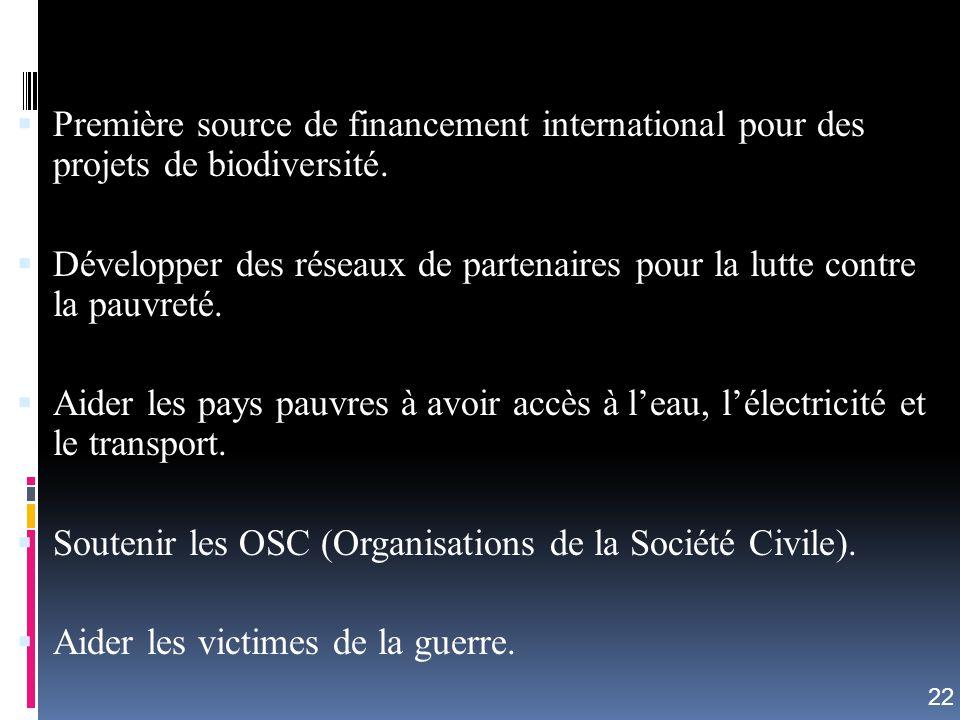Soutenir les OSC (Organisations de la Société Civile).