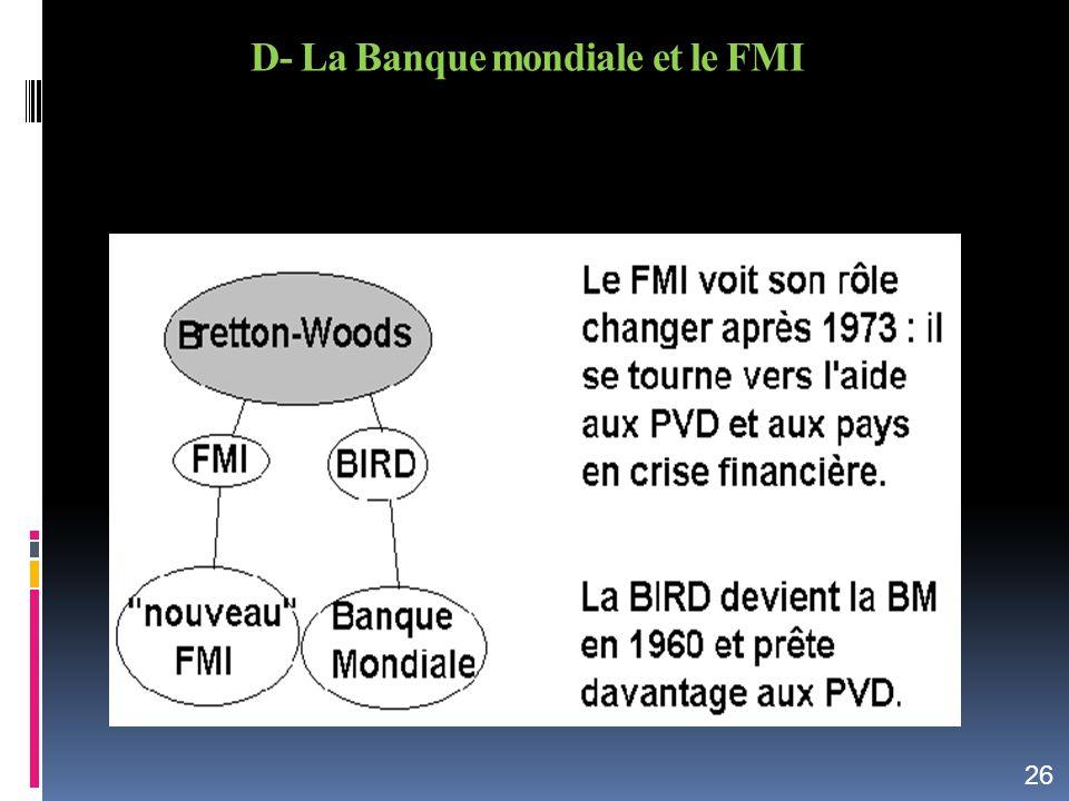 D- La Banque mondiale et le FMI