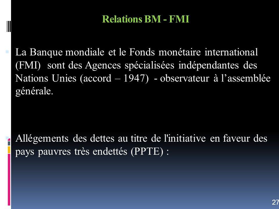 Relations BM - FMI