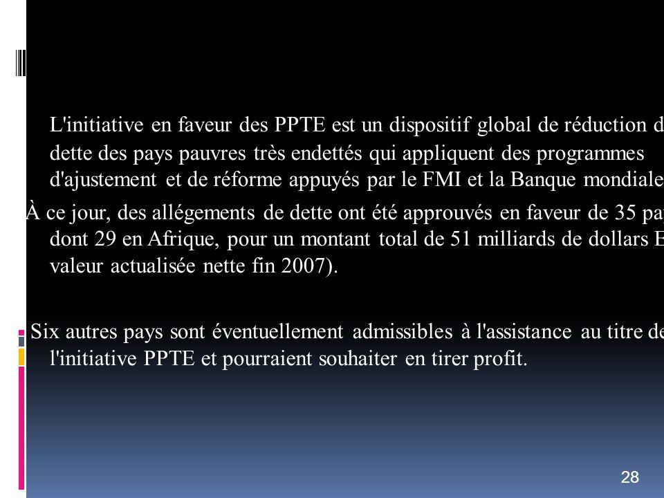 L initiative en faveur des PPTE est un dispositif global de réduction de la dette des pays pauvres très endettés qui appliquent des programmes d ajustement et de réforme appuyés par le FMI et la Banque mondiale.