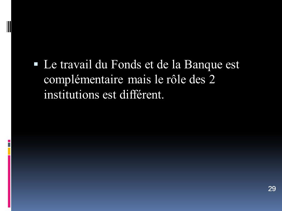 Le travail du Fonds et de la Banque est complémentaire mais le rôle des 2 institutions est différent.