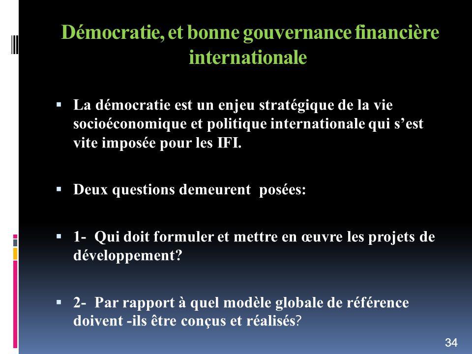 Démocratie, et bonne gouvernance financière internationale