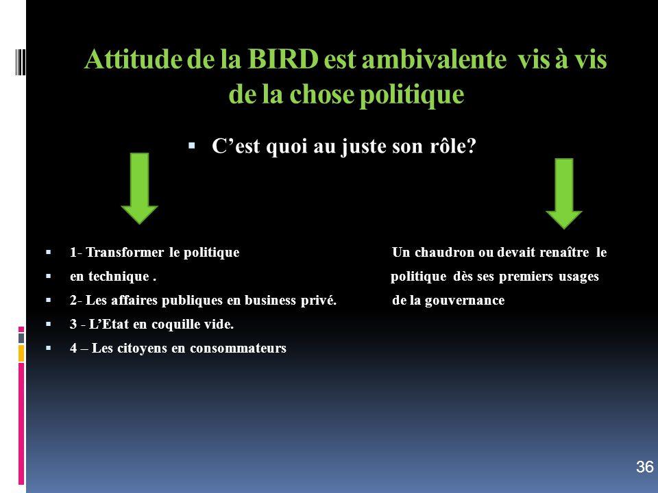 Attitude de la BIRD est ambivalente vis à vis de la chose politique