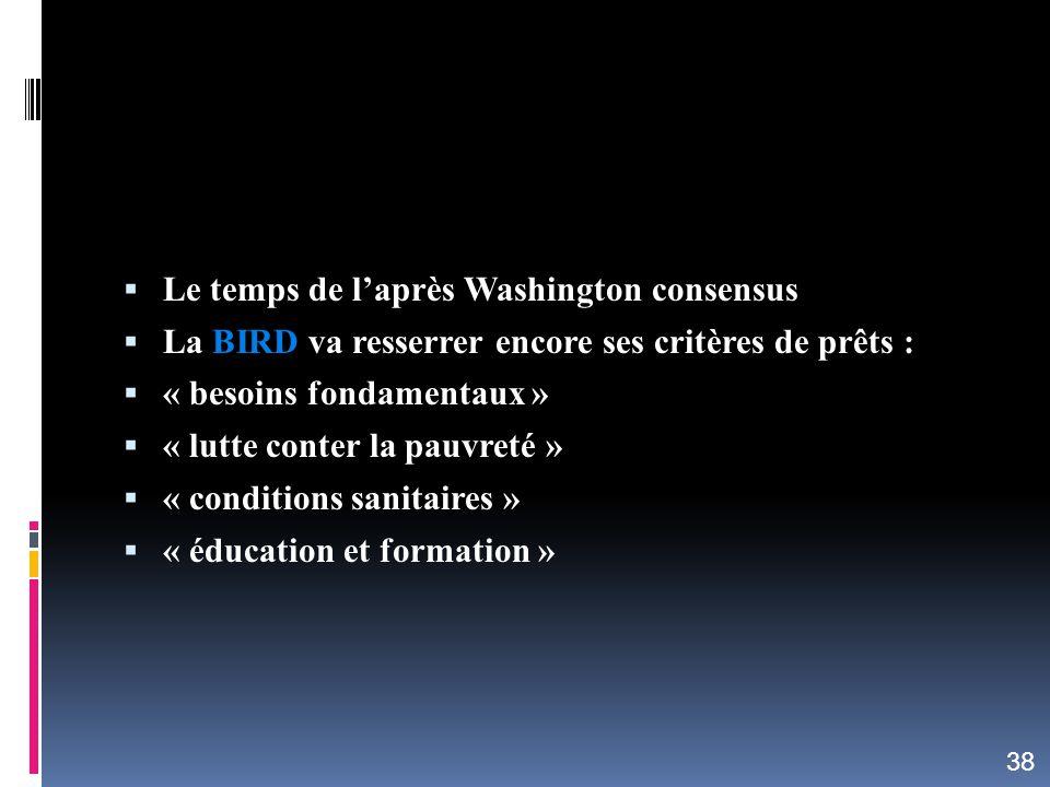 Le temps de l'après Washington consensus