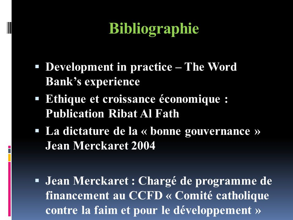 Bibliographie Development in practice – The Word Bank's experience