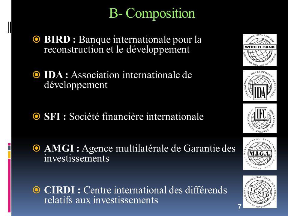 B- Composition BIRD : Banque internationale pour la reconstruction et le développement. IDA : Association internationale de développement.