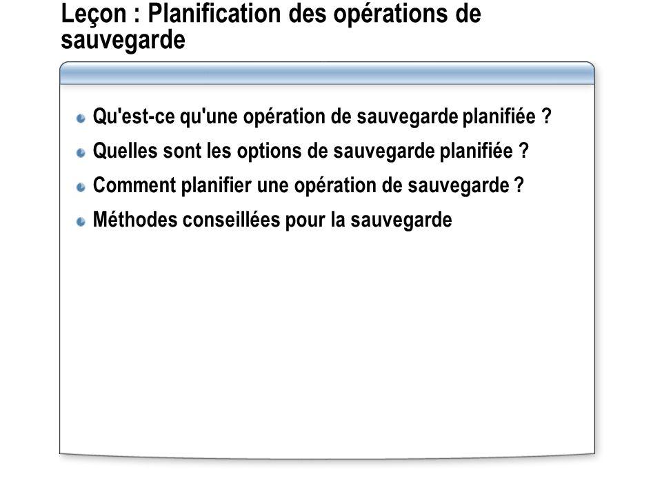 Leçon : Planification des opérations de sauvegarde