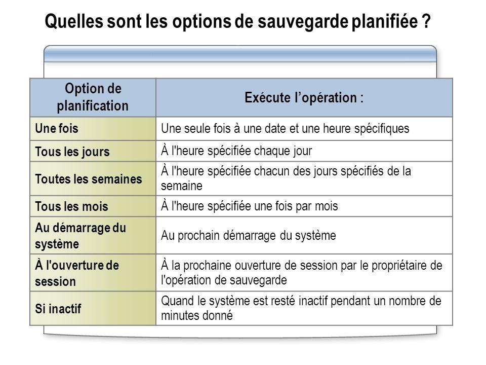 Quelles sont les options de sauvegarde planifiée
