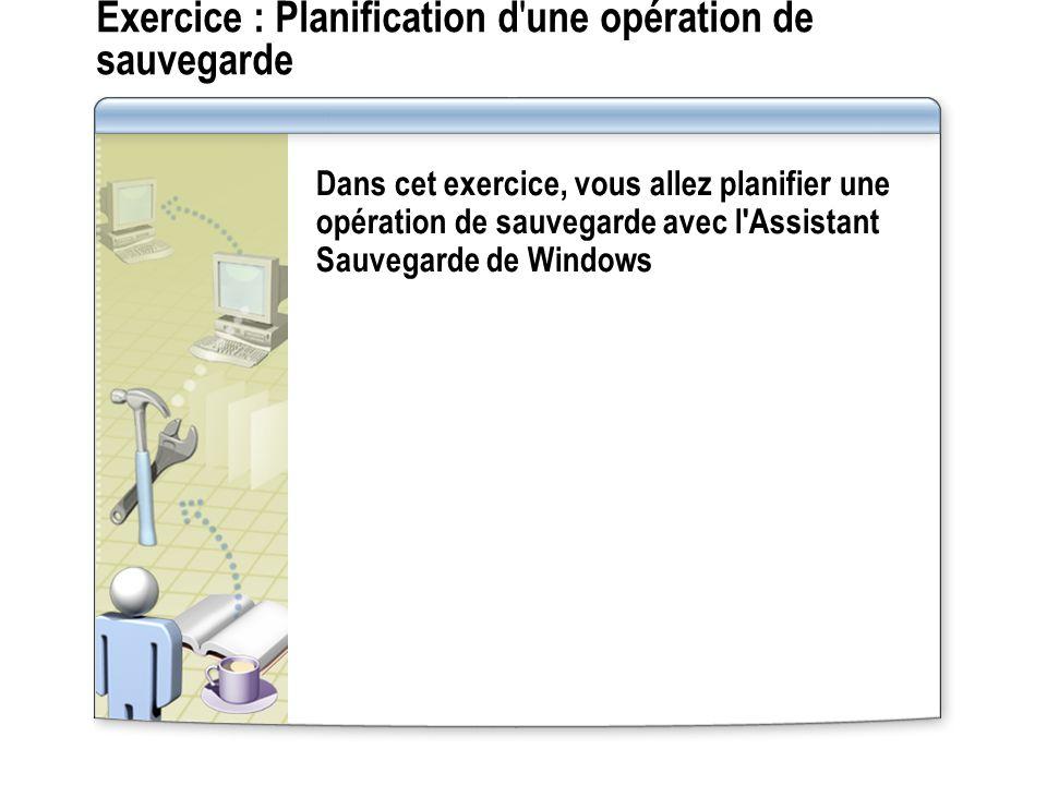 Exercice : Planification d une opération de sauvegarde