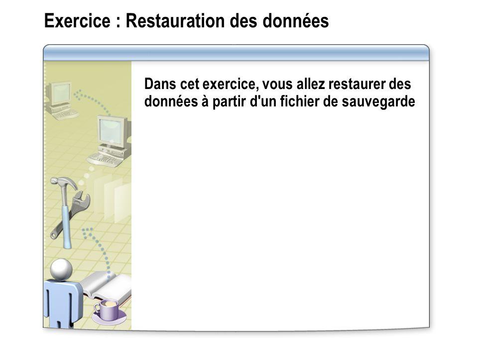 Exercice : Restauration des données