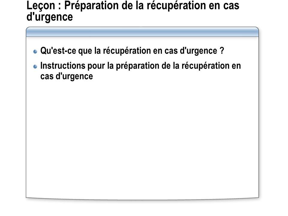 Leçon : Préparation de la récupération en cas d urgence