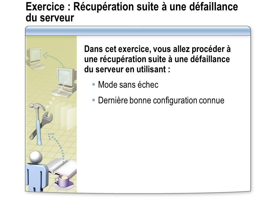 Exercice : Récupération suite à une défaillance du serveur