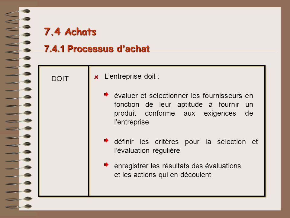 7.4 Achats 7.4.1 Processus d'achat L'entreprise doit : DOIT