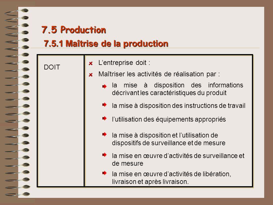 7.5 Production 7.5.1 Maîtrise de la production L'entreprise doit :