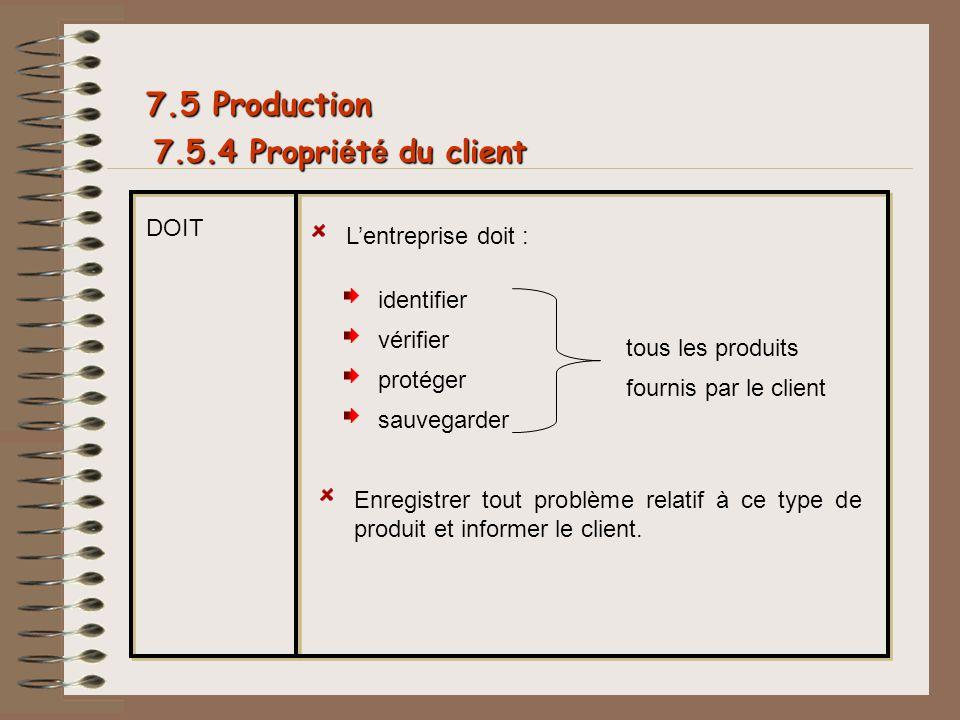 7.5 Production 7.5.4 Propriété du client DOIT L'entreprise doit :