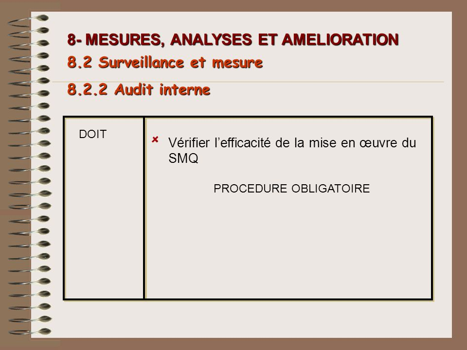 PROCEDURE OBLIGATOIRE