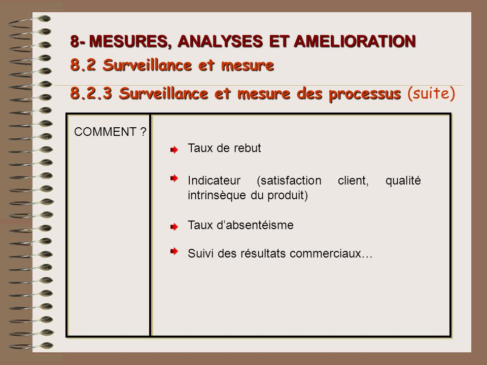 8- MESURES, ANALYSES ET AMELIORATION