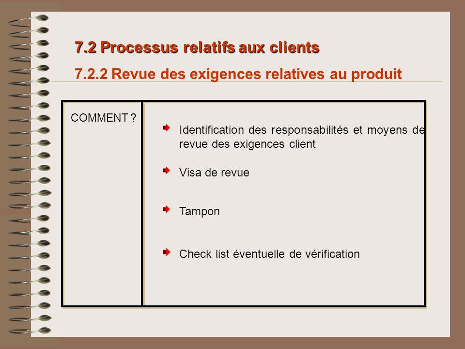 7.2 Processus relatifs aux clients
